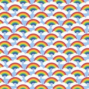"1"" smaller circle rainbow - blue skies"