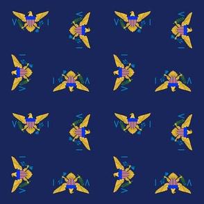 "US Virgin Islands flag, 1.5"" rotated on navy blue"