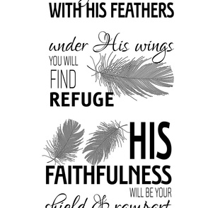 """He will cover you with His feathers (half-yard of 42"""" wide fabrics)"""