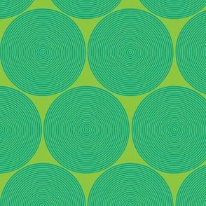small concentric circles - aqua on lime