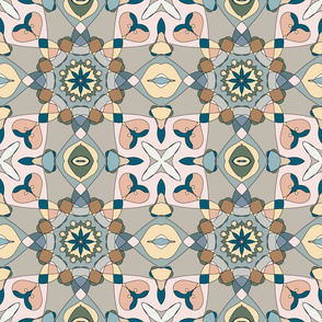 Mandala pattern in cool pastel colors