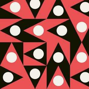 Patchwork Triangles Discs Deco Geo, black, coral red