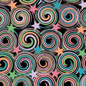 Lollipop Swirls and Stars on Black