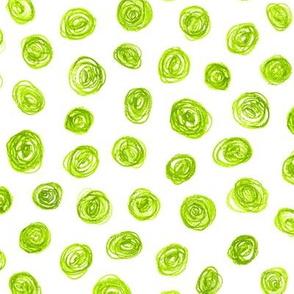 oil pastel scribble dots in bright yellow-green