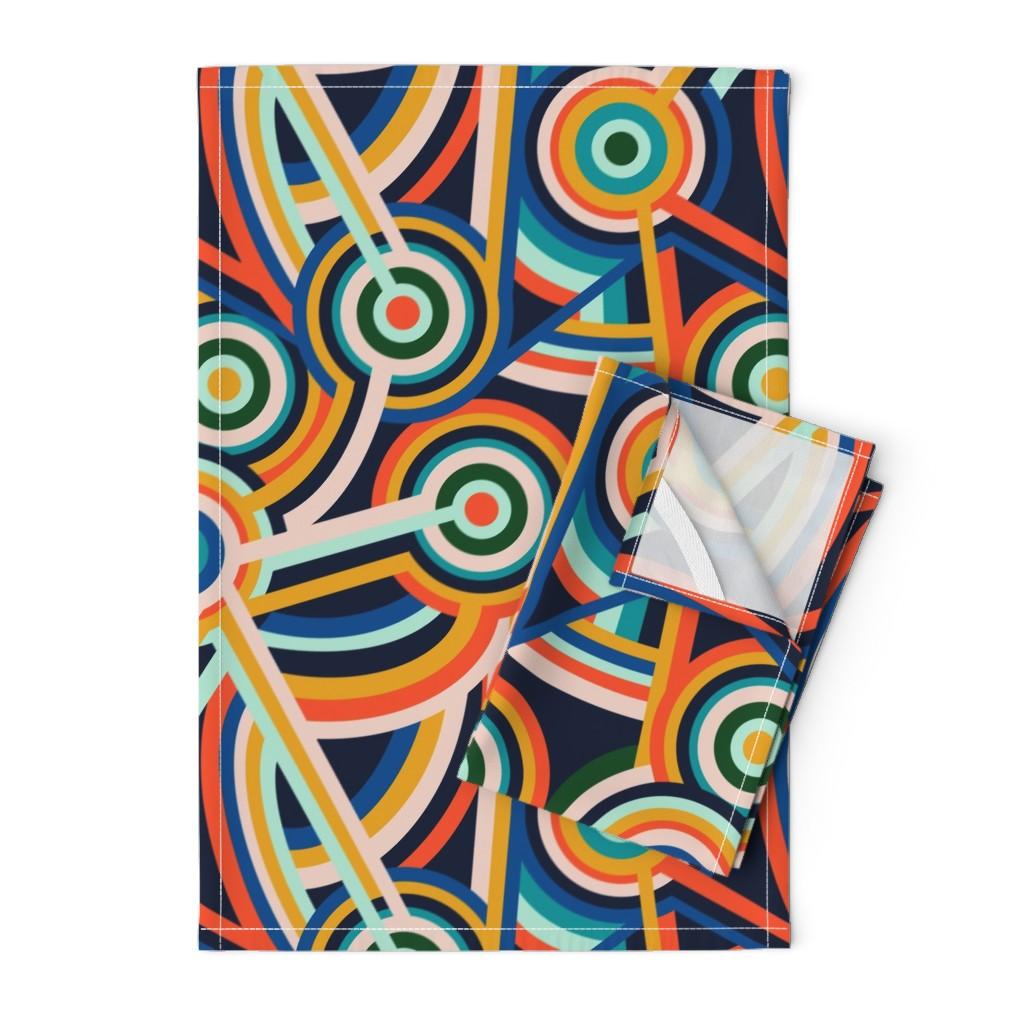 Orpington Tea Towels featuring Block Party by lapetitelecour