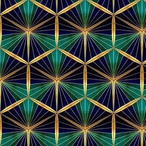 Gold Foil Hexagons in Deep Blue Sea Shades Tile