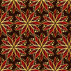 Gold Foil Starburst Floral Dotted in Red Tile
