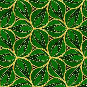 Gold Foil Three Petals Shamrock Green Tile