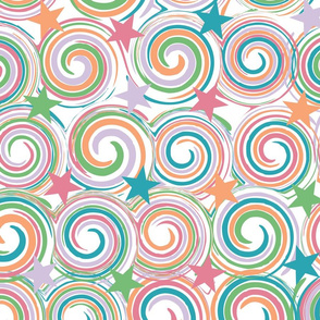 Lollipop Swirls and Stars on White