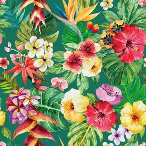 Tropical big flowers light emmerald background