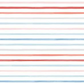 Mini Sparse Watercolor Stripes M+M Coral Sky