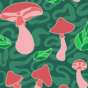 Mushroom Patch on Green