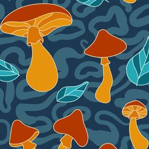 Mushroom Patch on Blue