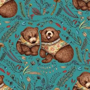 Whimsical Bear Pair on teal