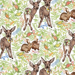 Forest Fawns & Rabbits - on white