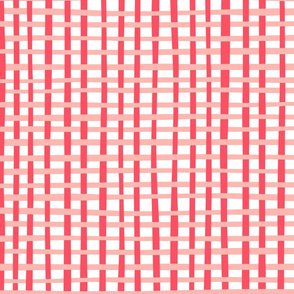 Coral and Pink Basketweave Gingham Plaid