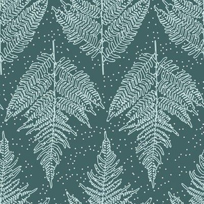 Symmetrical Fern Leaves on Dark Green Paducaru