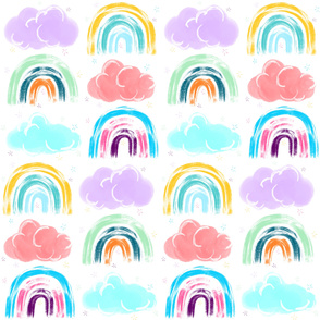 Rainbows Clouds Stars Dreamy Brushed Pattern
