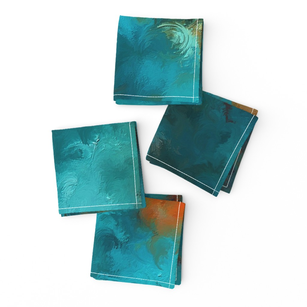 Frizzle Cocktail Napkins featuring ROYSTON BLUE COPPER by poefashion