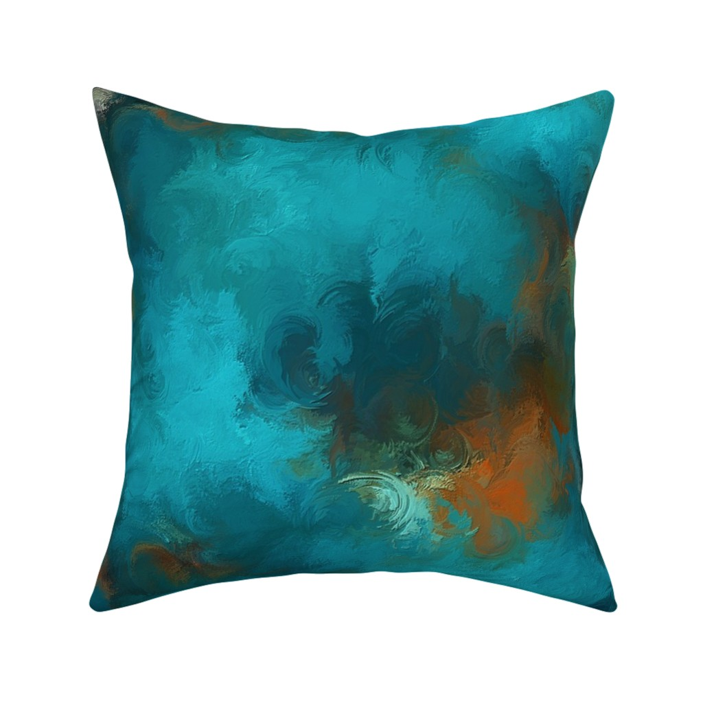 Catalan Throw Pillow featuring ROYSTON BLUE COPPER by poefashion