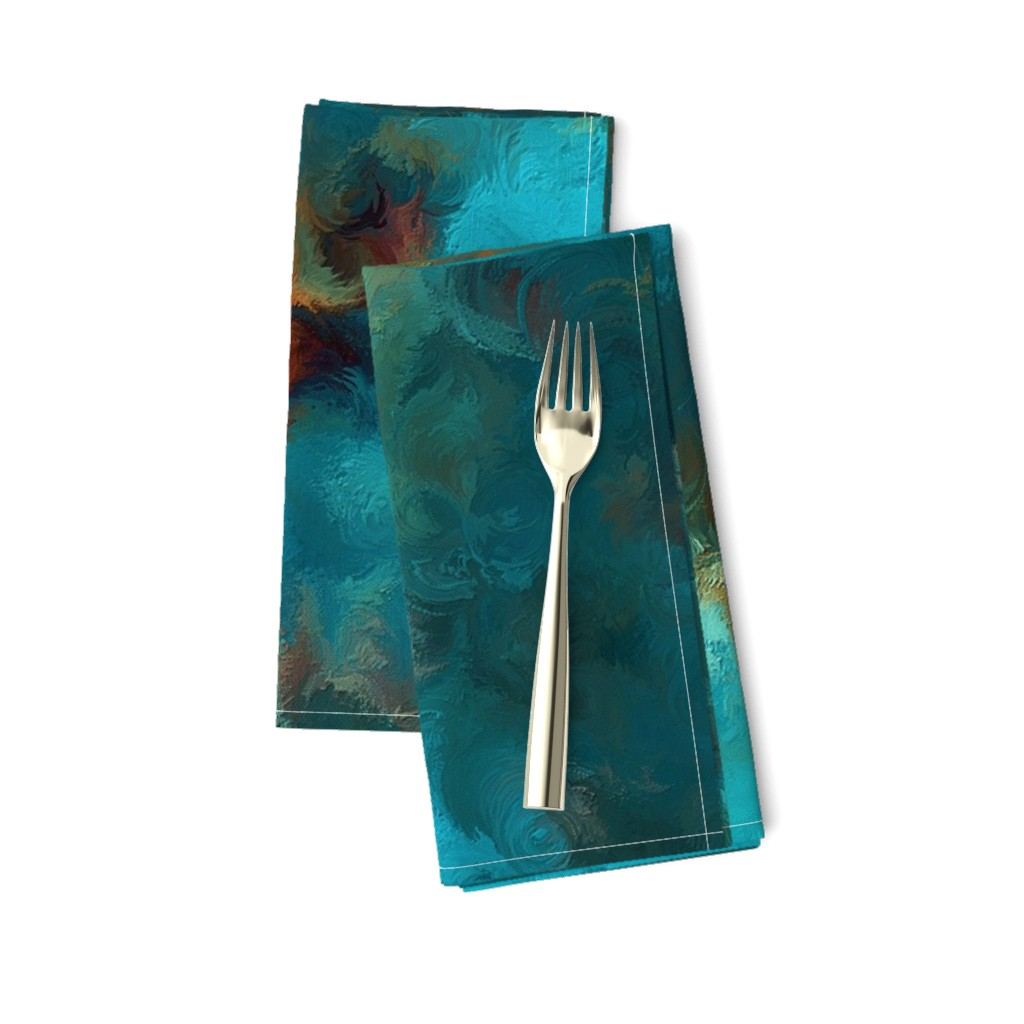Amarela Dinner Napkins featuring ROYSTON BLUE COPPER by poefashion