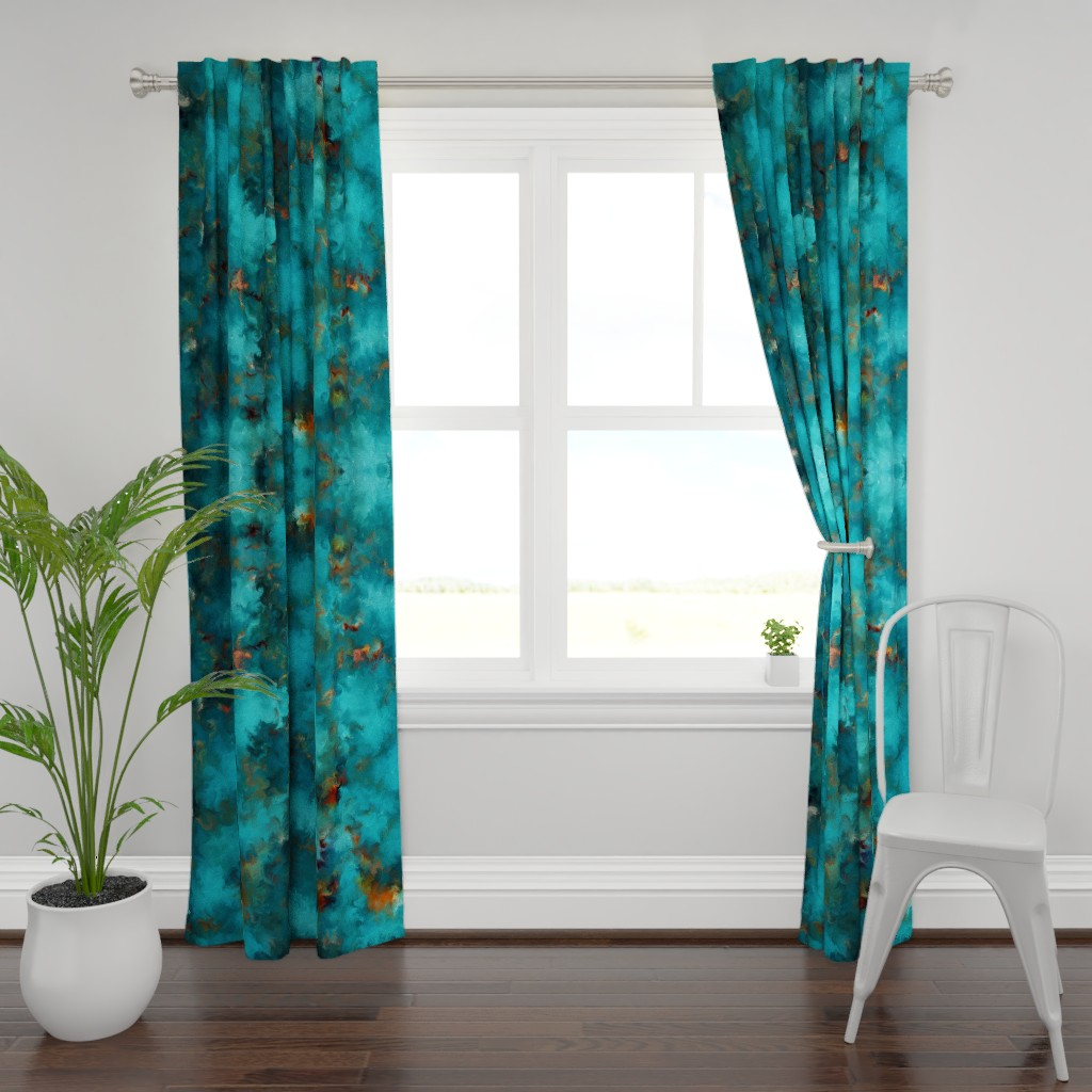 Plymouth Curtain Panel featuring ROYSTON BLUE COPPER by poefashion