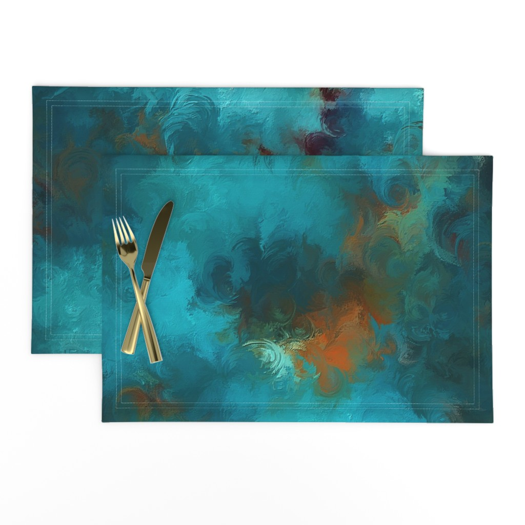 Lamona Cloth Placemats featuring ROYSTON BLUE COPPER by poefashion