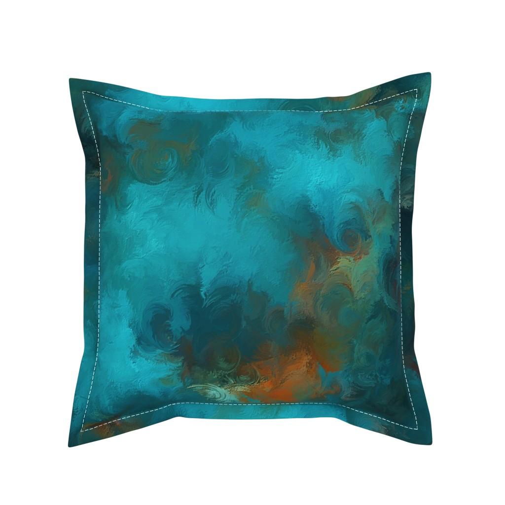 Serama Throw Pillow featuring ROYSTON BLUE COPPER by poefashion