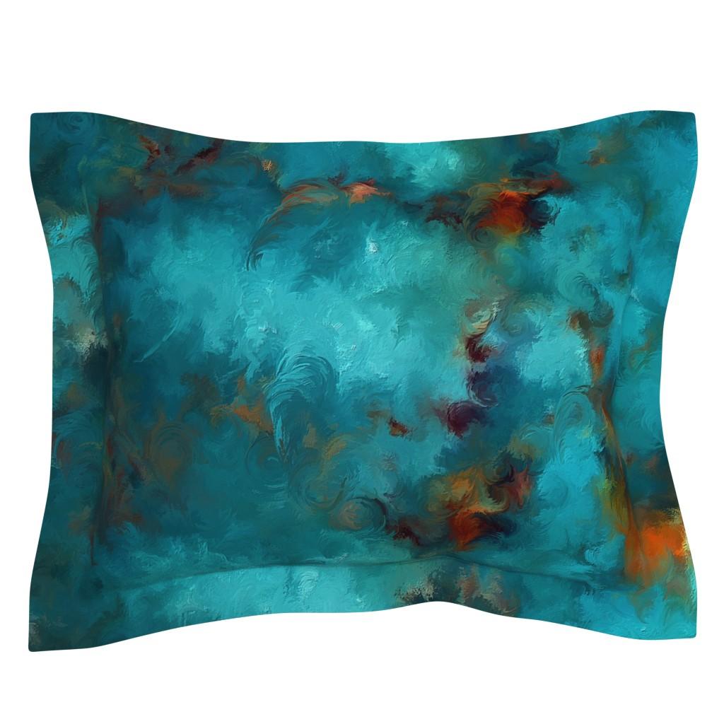 Sebright Pillow Sham featuring ROYSTON BLUE COPPER by poefashion