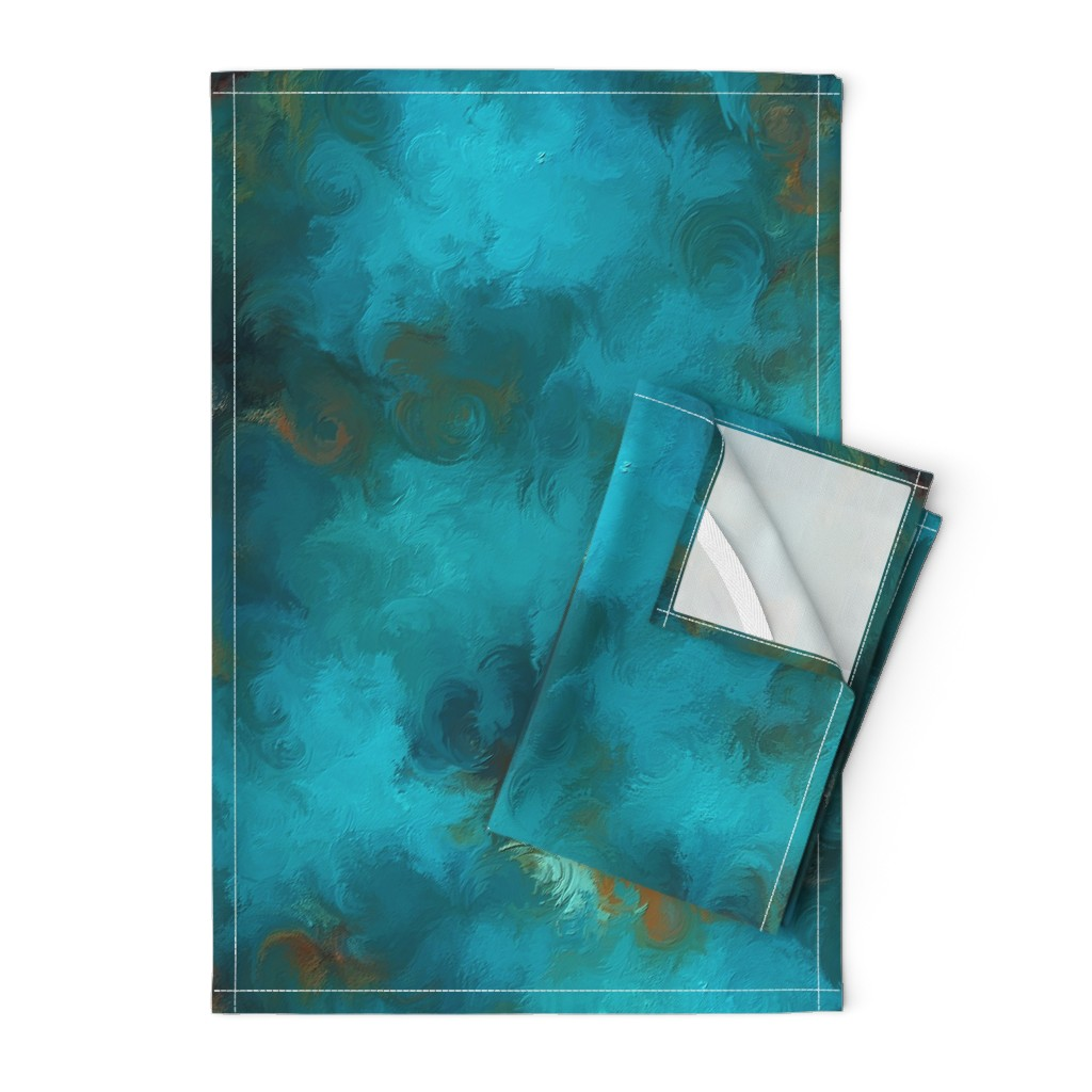 Orpington Tea Towels featuring ROYSTON BLUE COPPER by poefashion