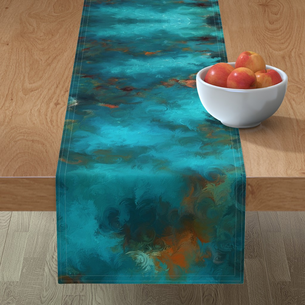 Minorca Table Runner featuring ROYSTON BLUE COPPER by poefashion