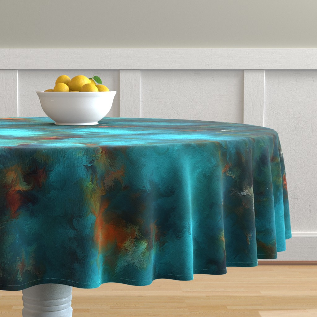 Malay Round Tablecloth featuring ROYSTON BLUE COPPER by poefashion