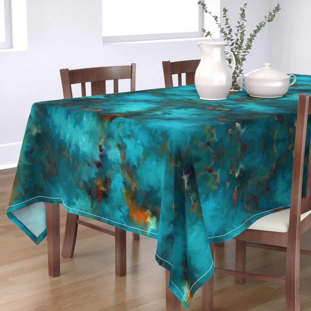 Bantam Rectangular Tablecloth featuring ROYSTON BLUE COPPER by poefashion