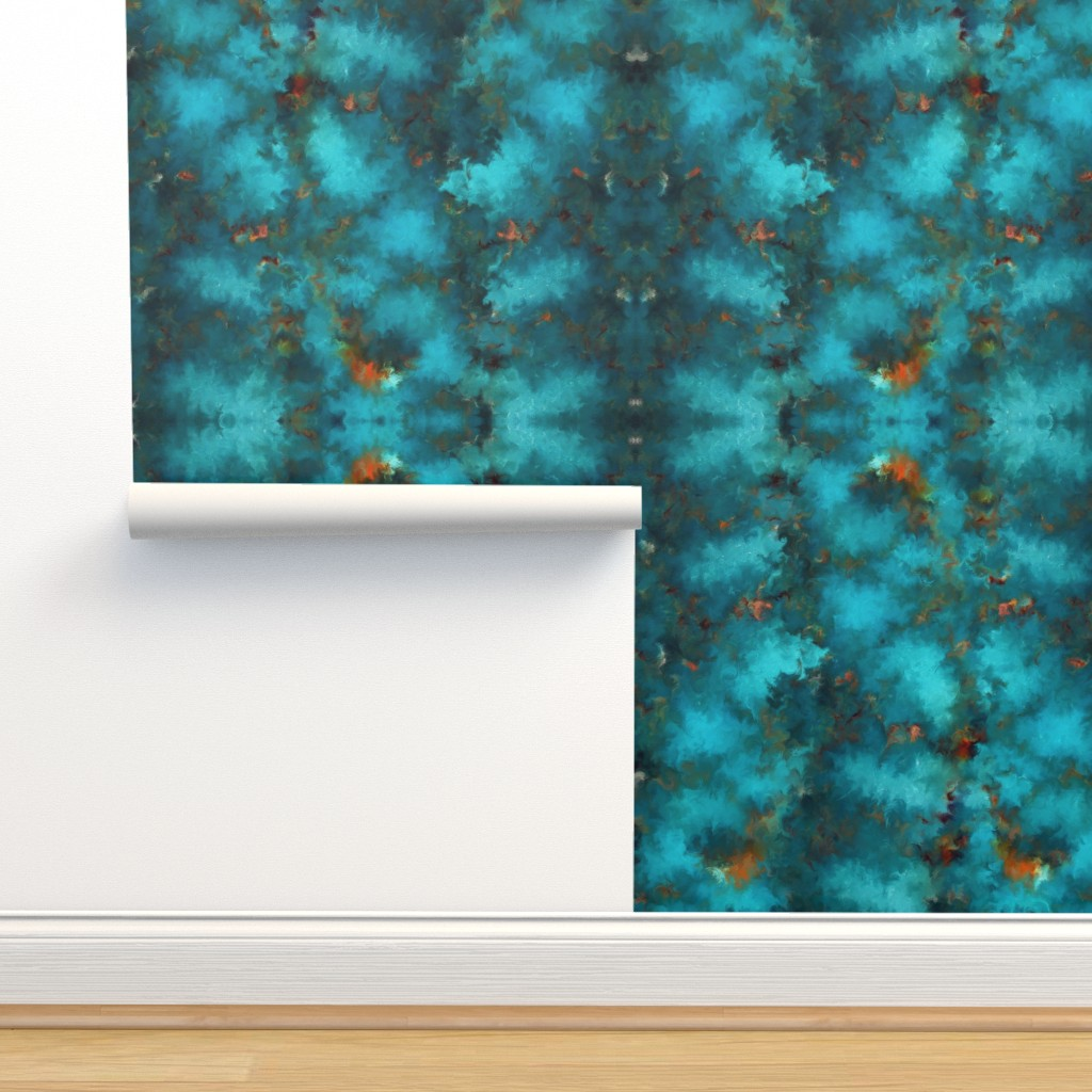 Isobar Durable Wallpaper featuring ROYSTON BLUE COPPER by poefashion