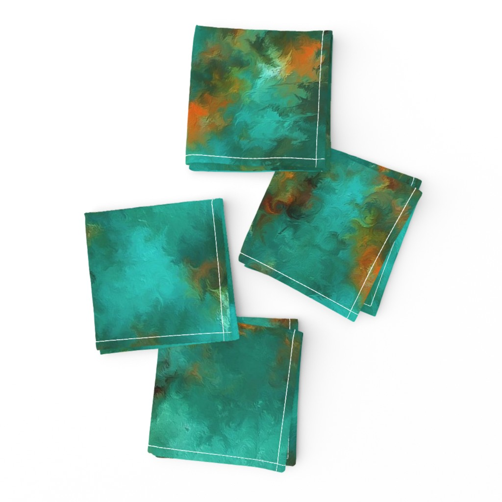 """Frizzle Cocktail Napkins featuring ROYSTON BLUE GREEN SET FOR 60"""" wide by poefashion"""