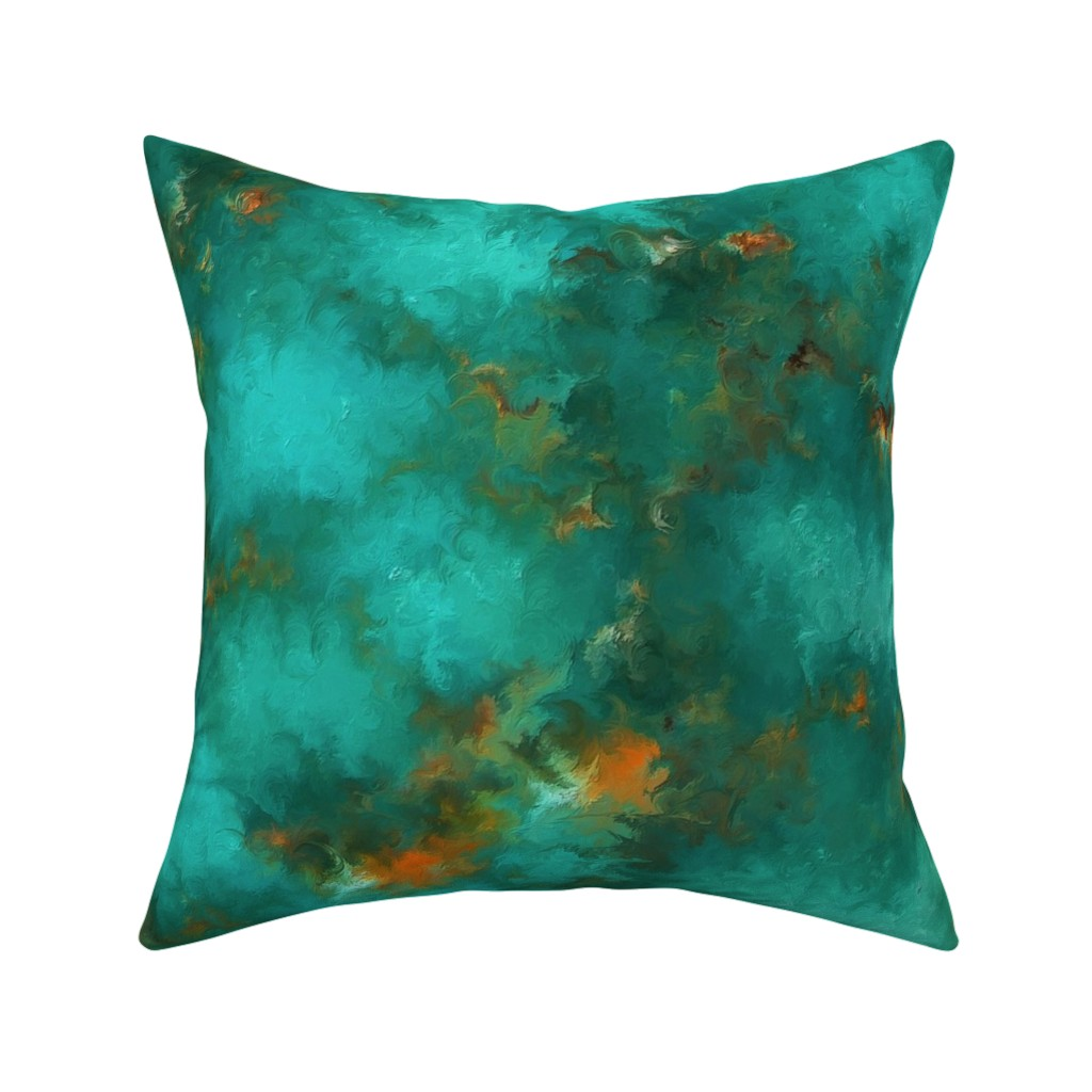"""Catalan Throw Pillow featuring ROYSTON BLUE GREEN SET FOR 60"""" wide by poefashion"""