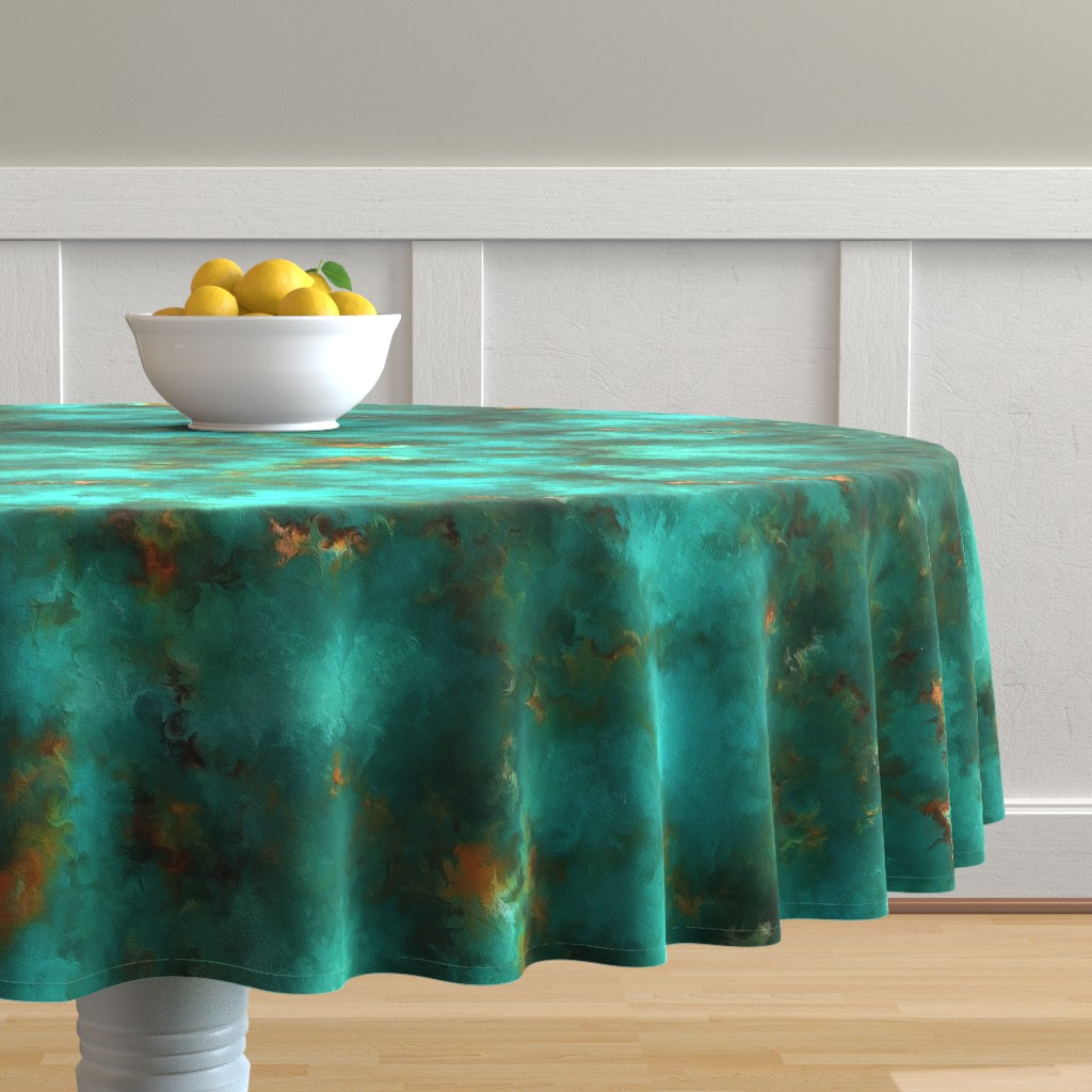 """Malay Round Tablecloth featuring ROYSTON BLUE GREEN SET FOR 60"""" wide by poefashion"""
