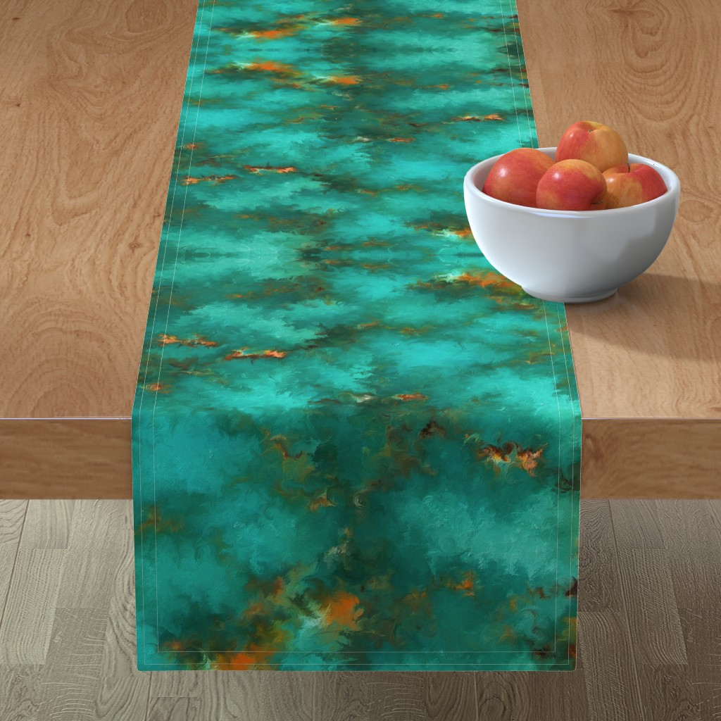 """Minorca Table Runner featuring ROYSTON BLUE GREEN SET FOR 60"""" wide by poefashion"""