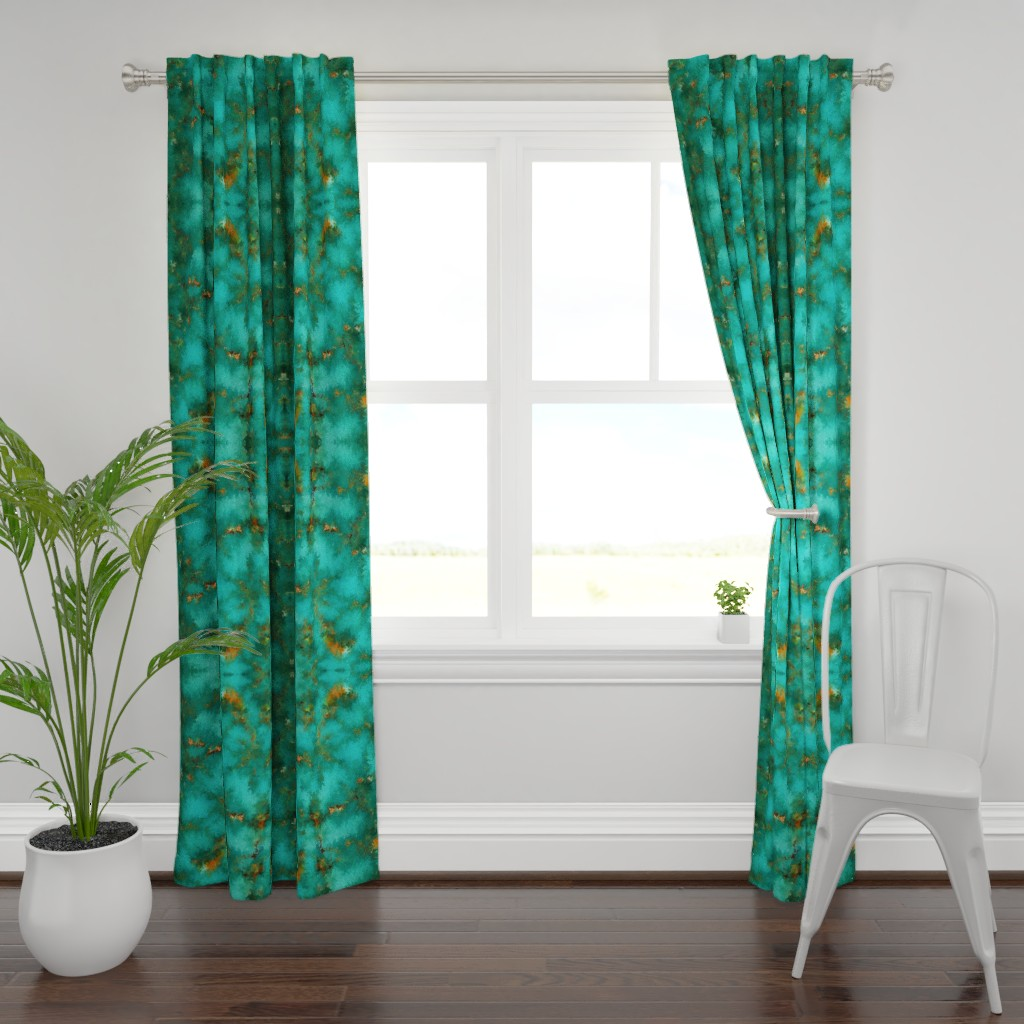"""Plymouth Curtain Panel featuring ROYSTON BLUE GREEN SET FOR 60"""" wide by poefashion"""