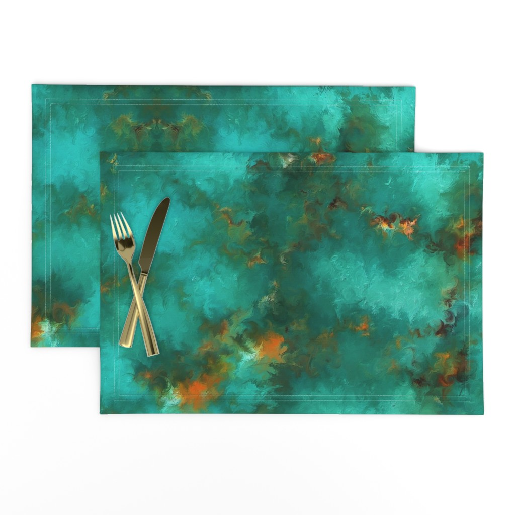 """Lamona Cloth Placemats featuring ROYSTON BLUE GREEN SET FOR 60"""" wide by poefashion"""