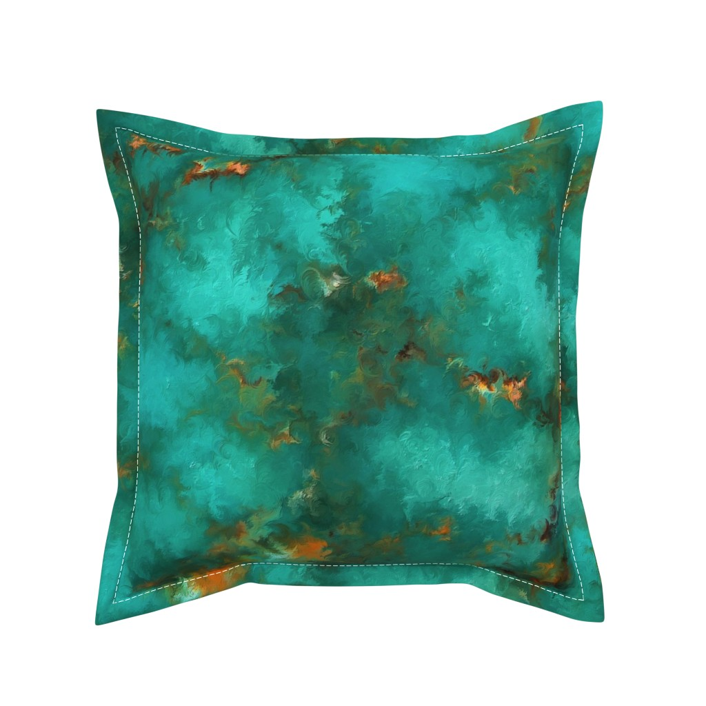 "Serama Throw Pillow featuring ROYSTON BLUE GREEN SET FOR 60"" wide by poefashion"