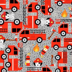 Medium Gray Red Firetruck Dalmatian Dogs