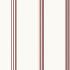 Red ticking french stripe feedsack grain sack fabric cottage stripe on offwhite