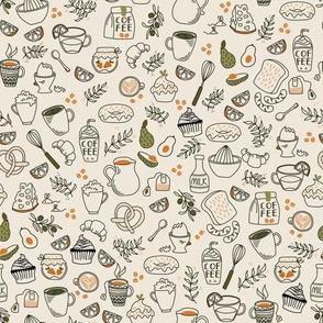 Good Morning Breakfast, Line art Coffee Tea Donuts, Baking Love