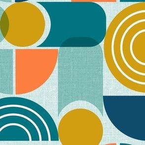 Trailway - Modern Geometric Textured Aqua Large Scale