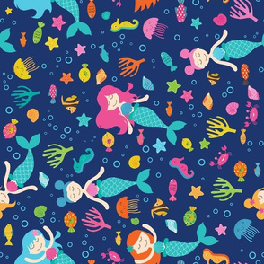 Mermaids Under The Sea Blue Rotated