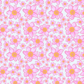 Pink inked florals