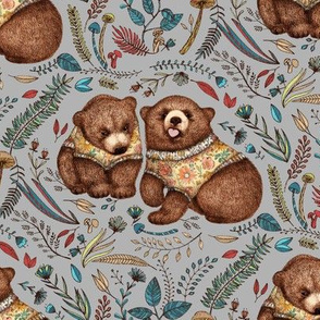 Whimsical Bear Pair on grey