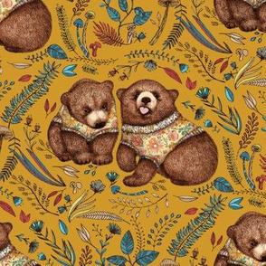 Whimsical Bear Pair on mustard