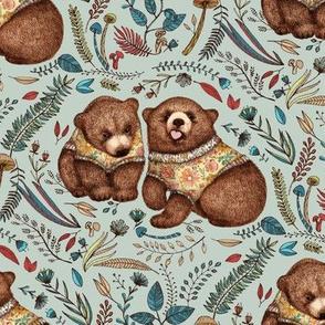 Whimsical Bear Pair - on sage green